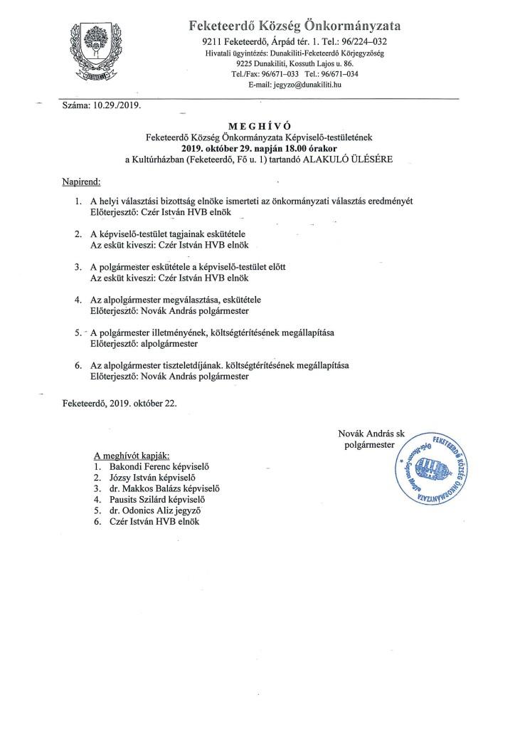 Meghívó Képviselő-testület alakuló ülésére