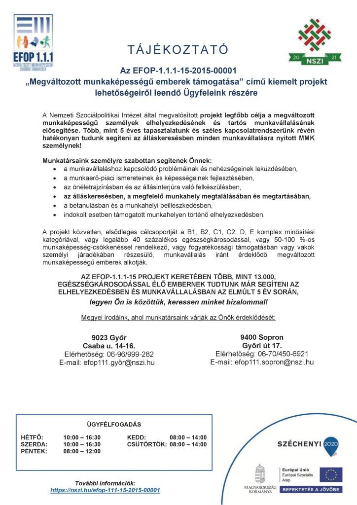 Tájékoztató ügyfelek részére_EFOP-1.1.1